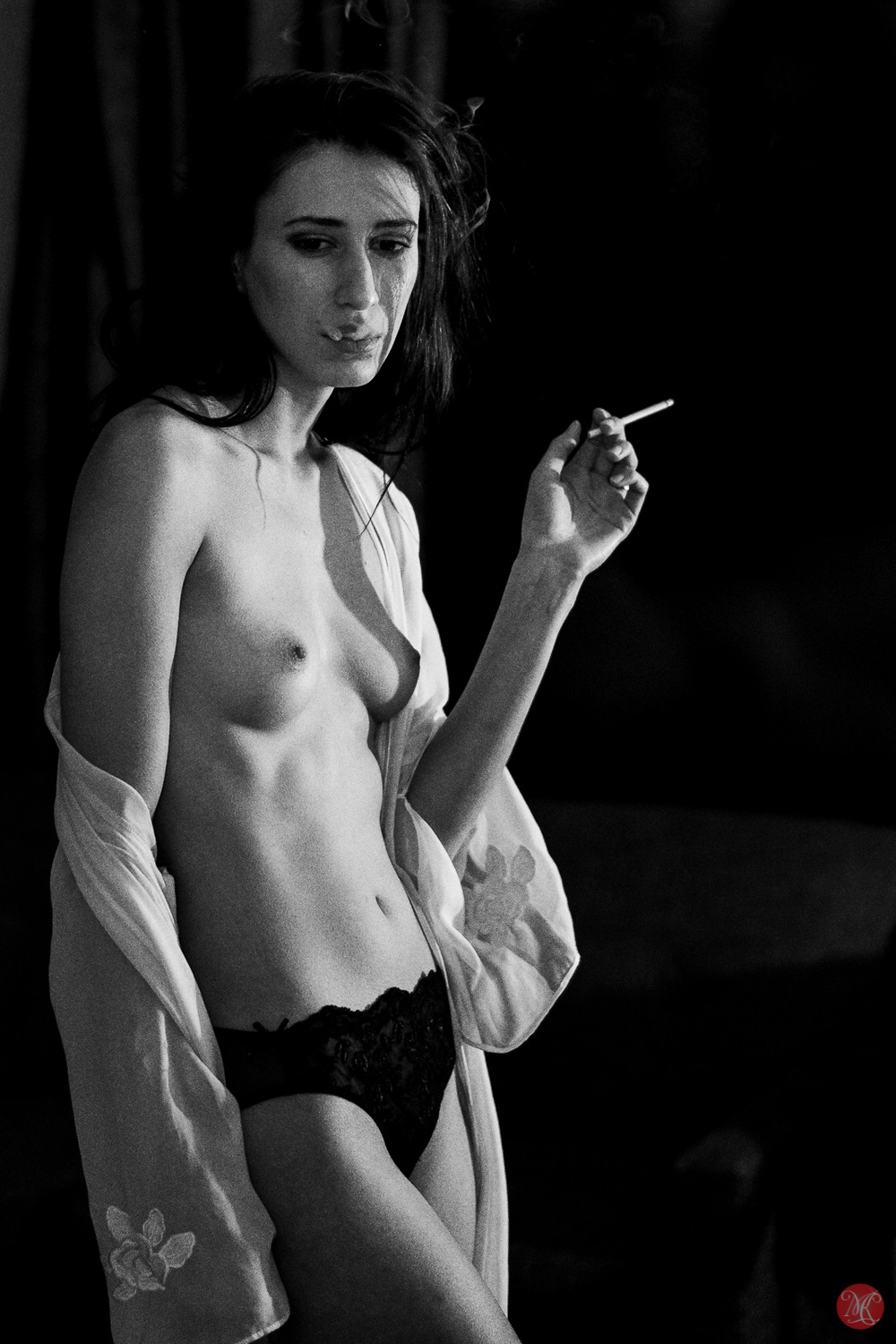 Kate Snig model woman portrait smoking nude
