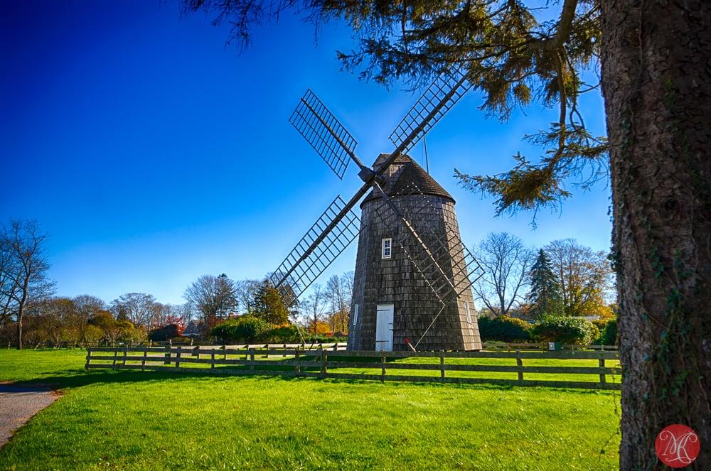 Wind mill on Long Island in fall