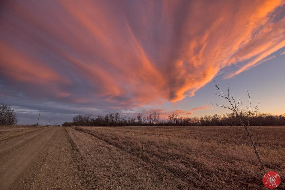 Spring sky and Alberta roads