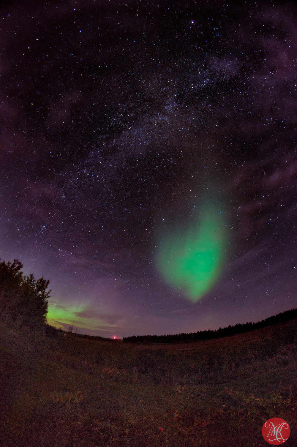 Heart shaped aurora