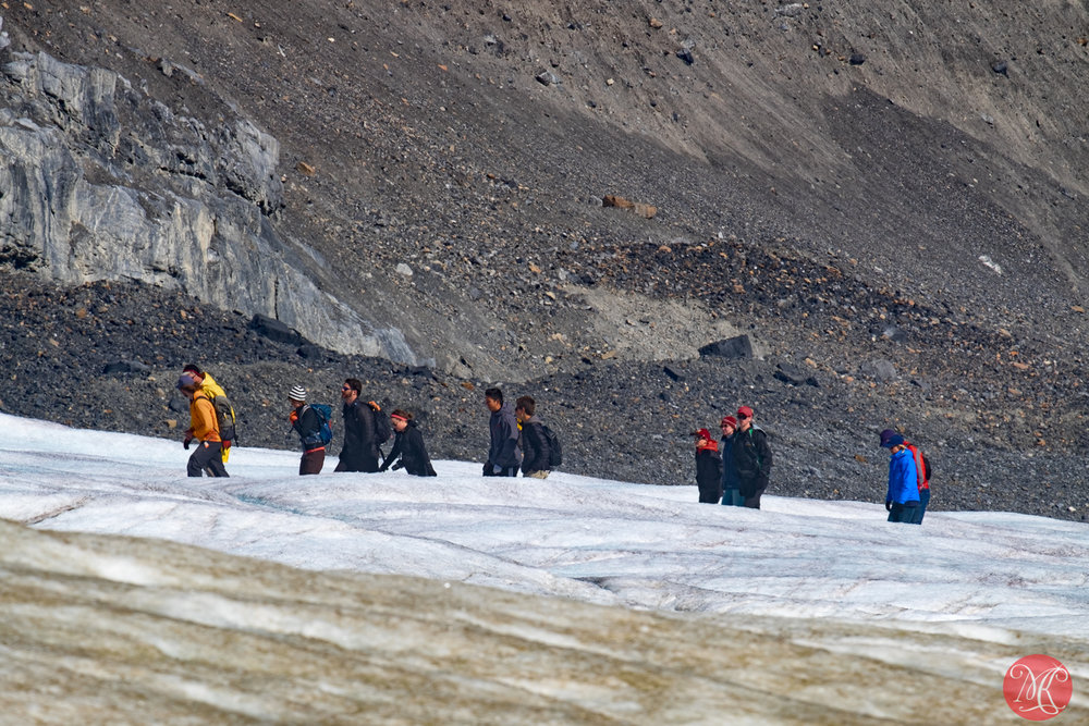 Waling up the glacier