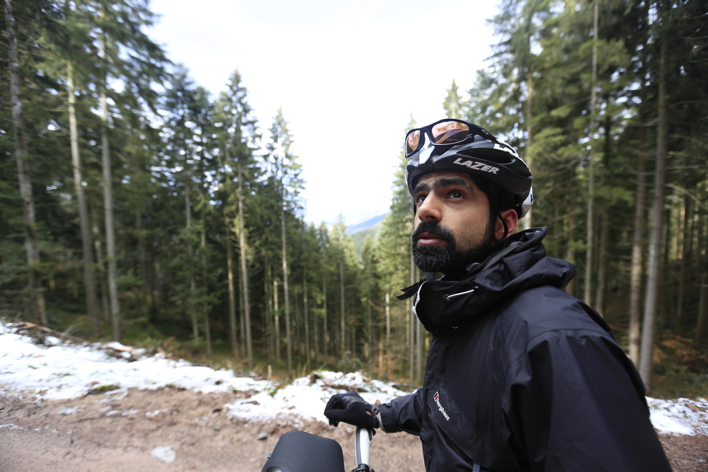 ....Mo realising we're nowhere near the top, despite climbing for over an hour.