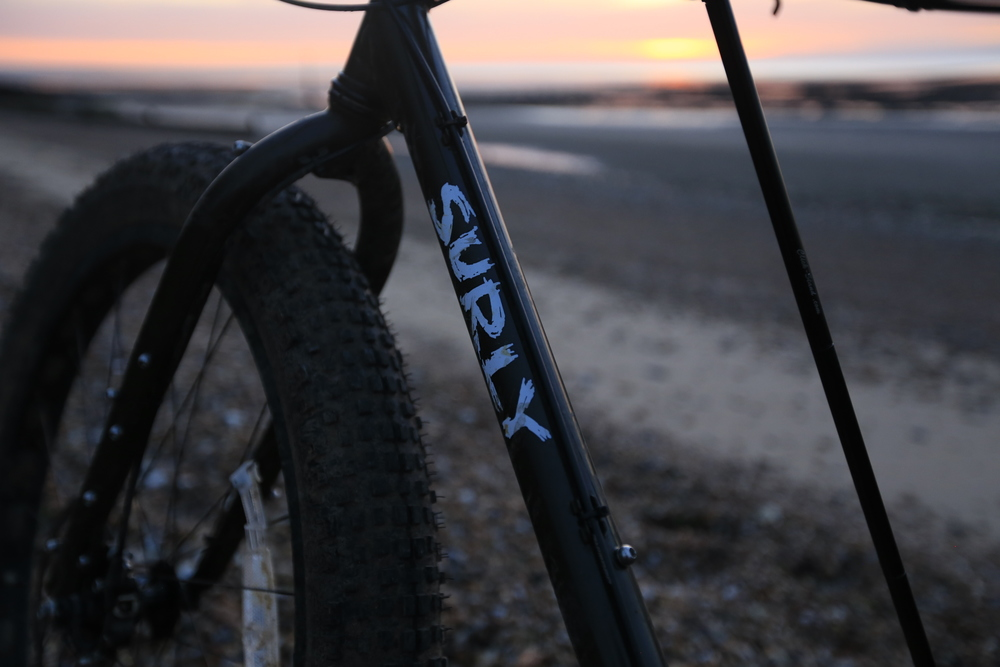 surly, surly ecr, bikepacking, knards, bicycle touring blog, cycling, cycling blog, braze ons, cycling gear, klick stand, beach