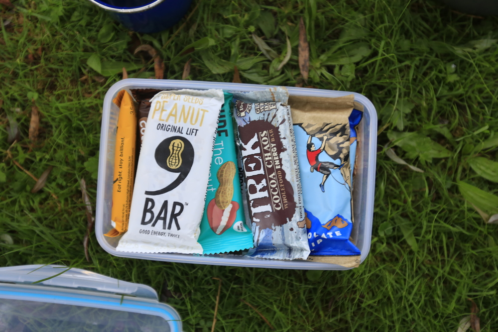 Food courtesy of 9 Bar, Trek, Clif Bar, Nakd and Rude Health.