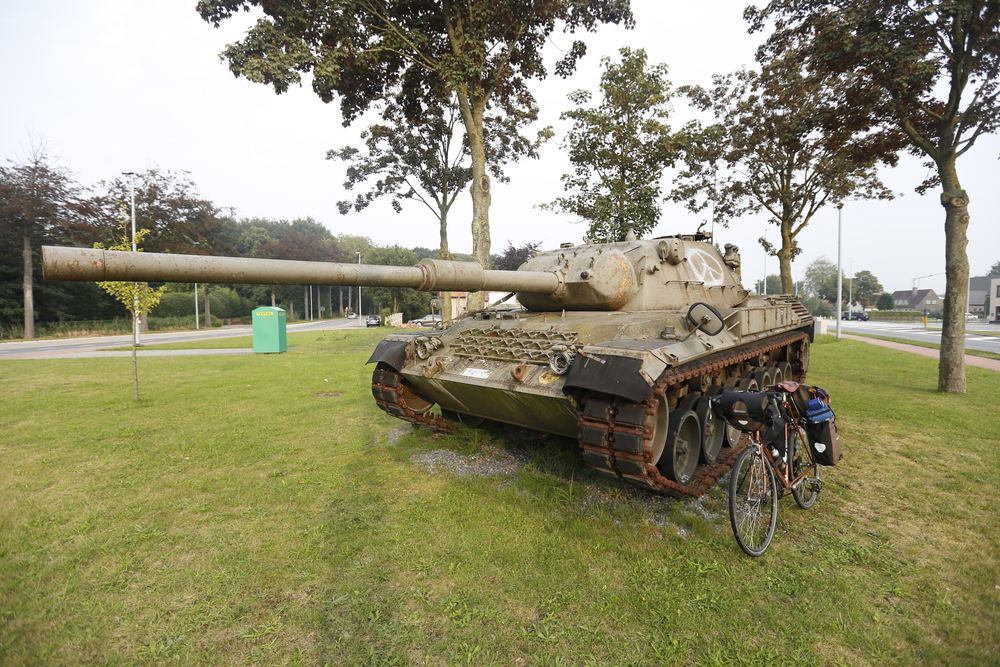 tank, military, raleigh, raleigh bikes, custom tourer, custom touring bike, bicycle touring apocalypse, belgium, belgium WWII, surly, bicycle touring, bike tours, bike routes, bike route, bike touring, surly, pannier, ortlieb, steel frame, lejog, Carradice, Brooks, fat bike, Garmin, bicycle touring
