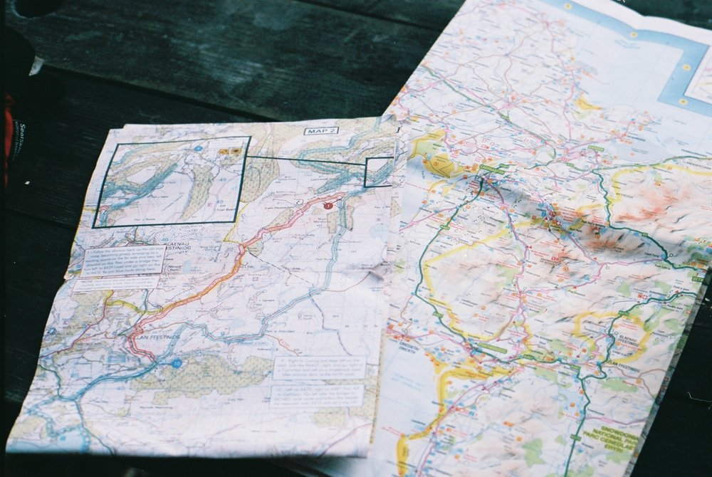 map, map reading, wales, welsh coast to coast, coast to coast, rough ride guide, map reading, ordnance survey, canon, canon ae-1, photography, 35mm, bicycle touring apocalypse