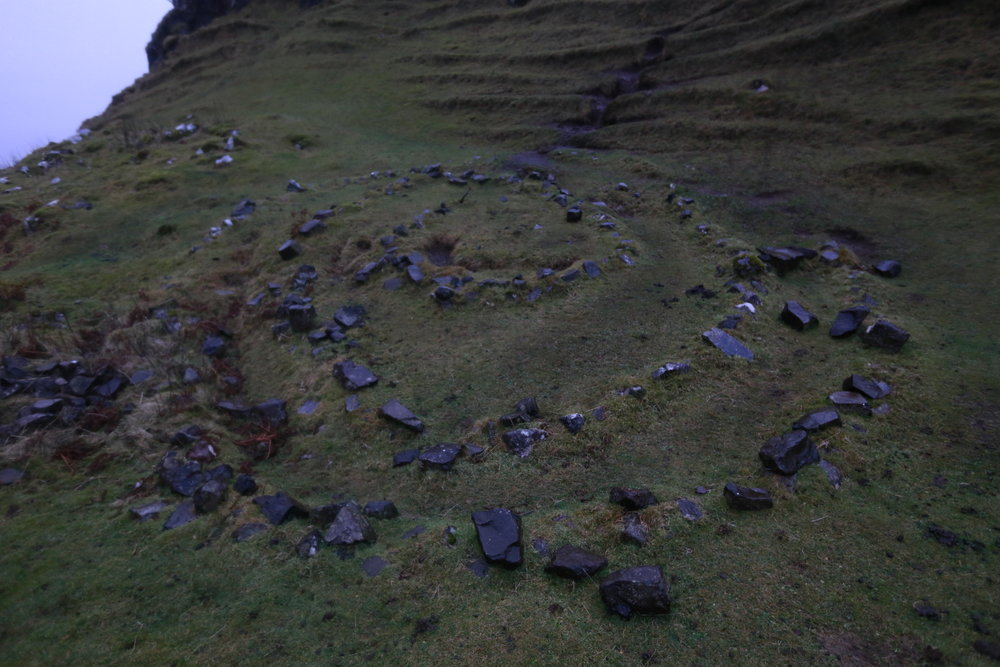 The original fairy circle. Follow the spirals round to the centre, leave a gift for the fairies and make a wish ( not money, fairies have no need for that, a small token that   means something to you ). Apparently as you focus on the spiral maze you forget the world around you.