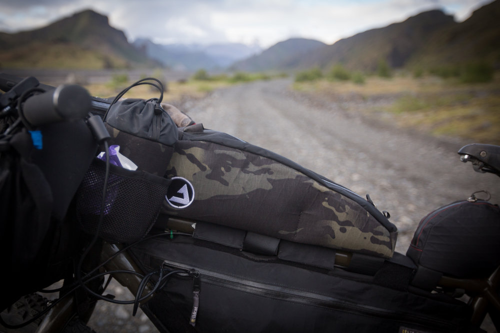 One of my favourite additions to my bikepacking set-up was the absolutely superb   J Paks FarvaPak  . This top-tube bag is one of the biggest on the market, yet remains very stable even under load. The waterproofing/build quality is exceptional and took all that Iceland had to offer in its stride. This bag comfortably consumed my DJI Mavic Pro drone , 2 spare batteries & snacks. The FarvaPak has quickly become one of my most valued bikepacking bags.