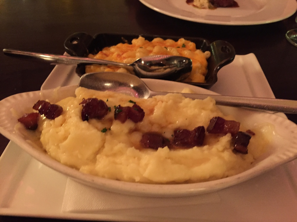 Mashed potatoes with smoked white cheddar and maple bacon