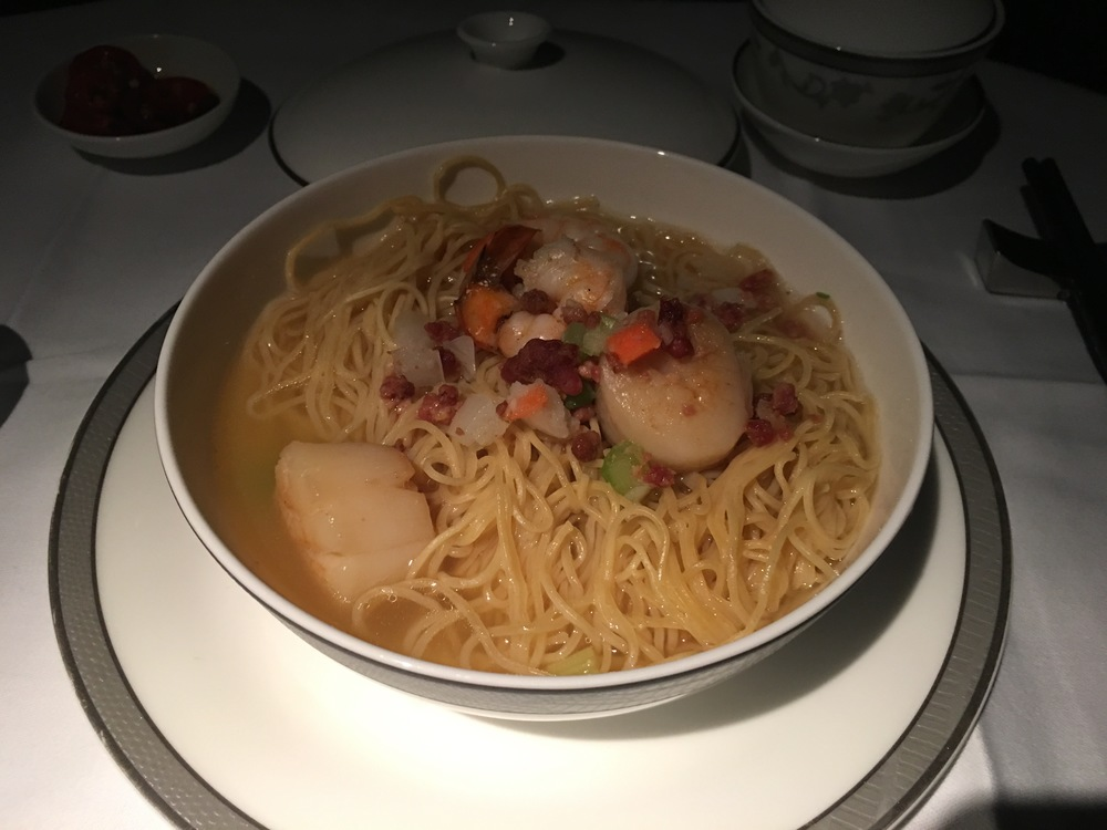 Egg Noodles with prawns, vegetables and Oriental chicken stock