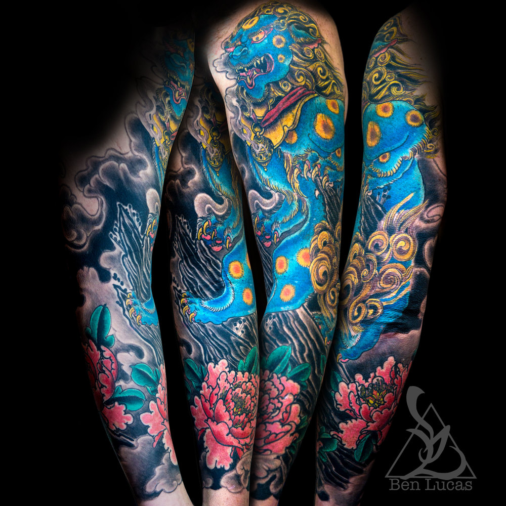 Michaels Foo Dog ( Shishi ) and Peony ( Botan ) Arm Sleeve Tattoo