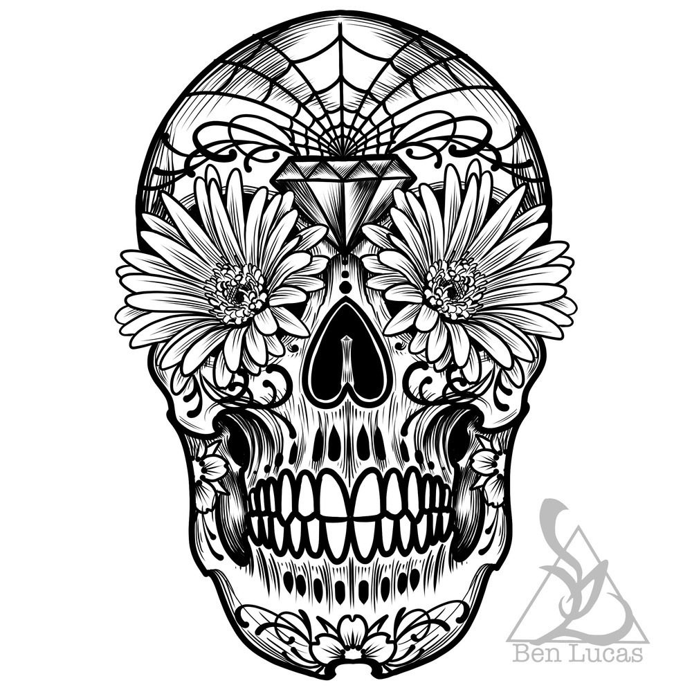Day of the dead sugar skull black-and-white digital drawing outline
