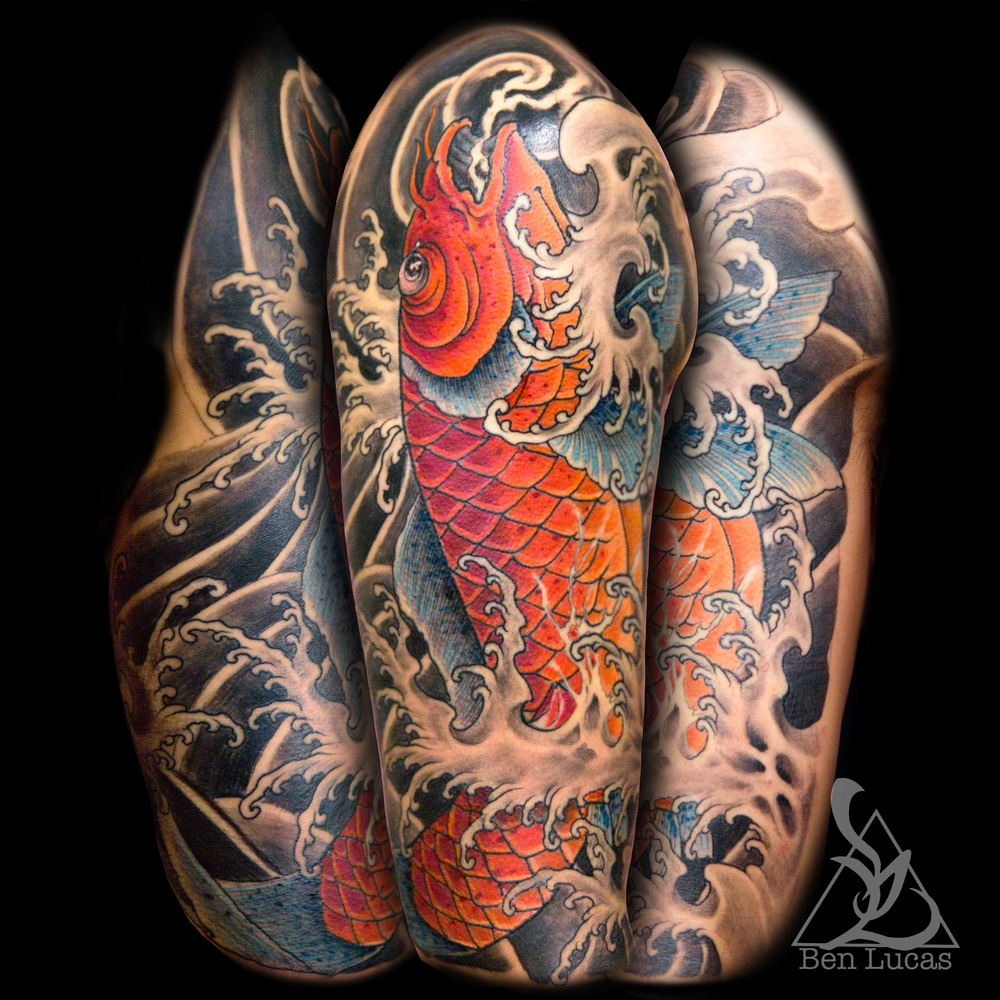 Here's a jumping koi fish half sleeve tattoo  I did on my buddy William. Sat like a champ too!