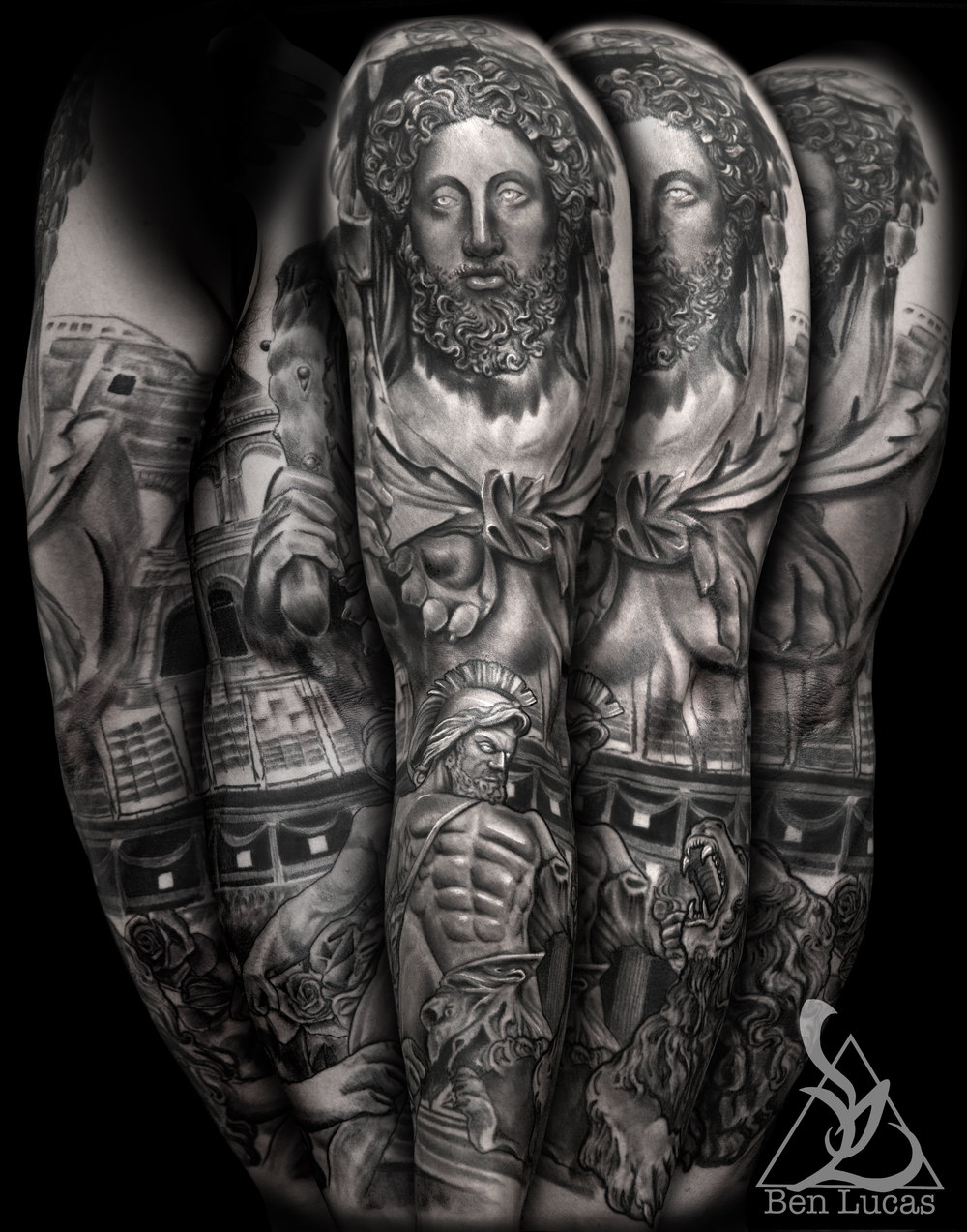 Hercules gladiator in the coliseum fighting the lion   in the   roman coliseum roman statue sleeve tattoo.