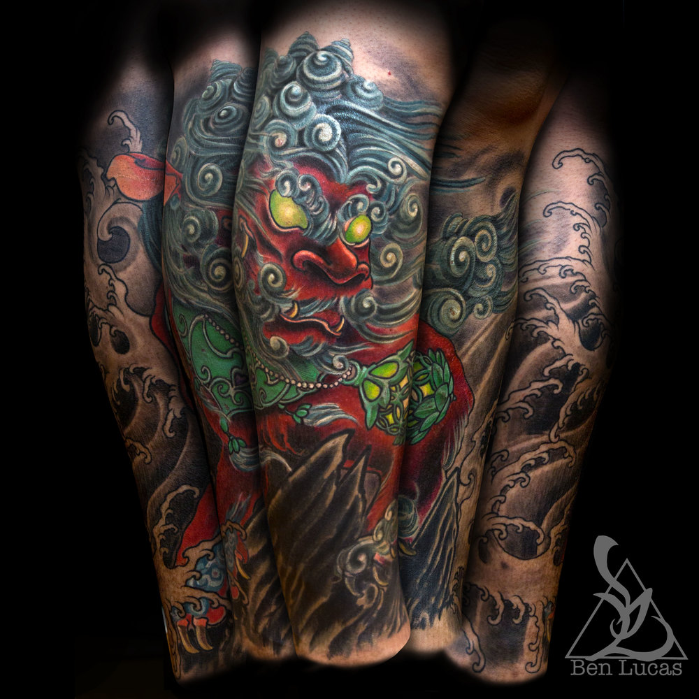 PhilipsRed shishi foo dog tribal dragon cover up from knee to ankle half leg sleeve.     ben@eyeofjadetattoo.com  instagram.com/ben_lucas_  facebook.com/Ben.Lucas.Tattoos  ben-lucas-tattooer.tumblr.com/  pinterest.com/benlucas76/