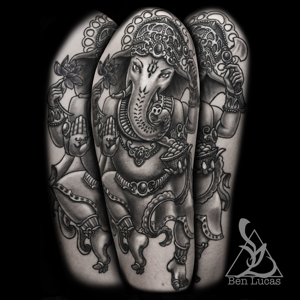 I did this black and grey Ganesha about a year and a half ago. Just got around to adding it to my portfolio.