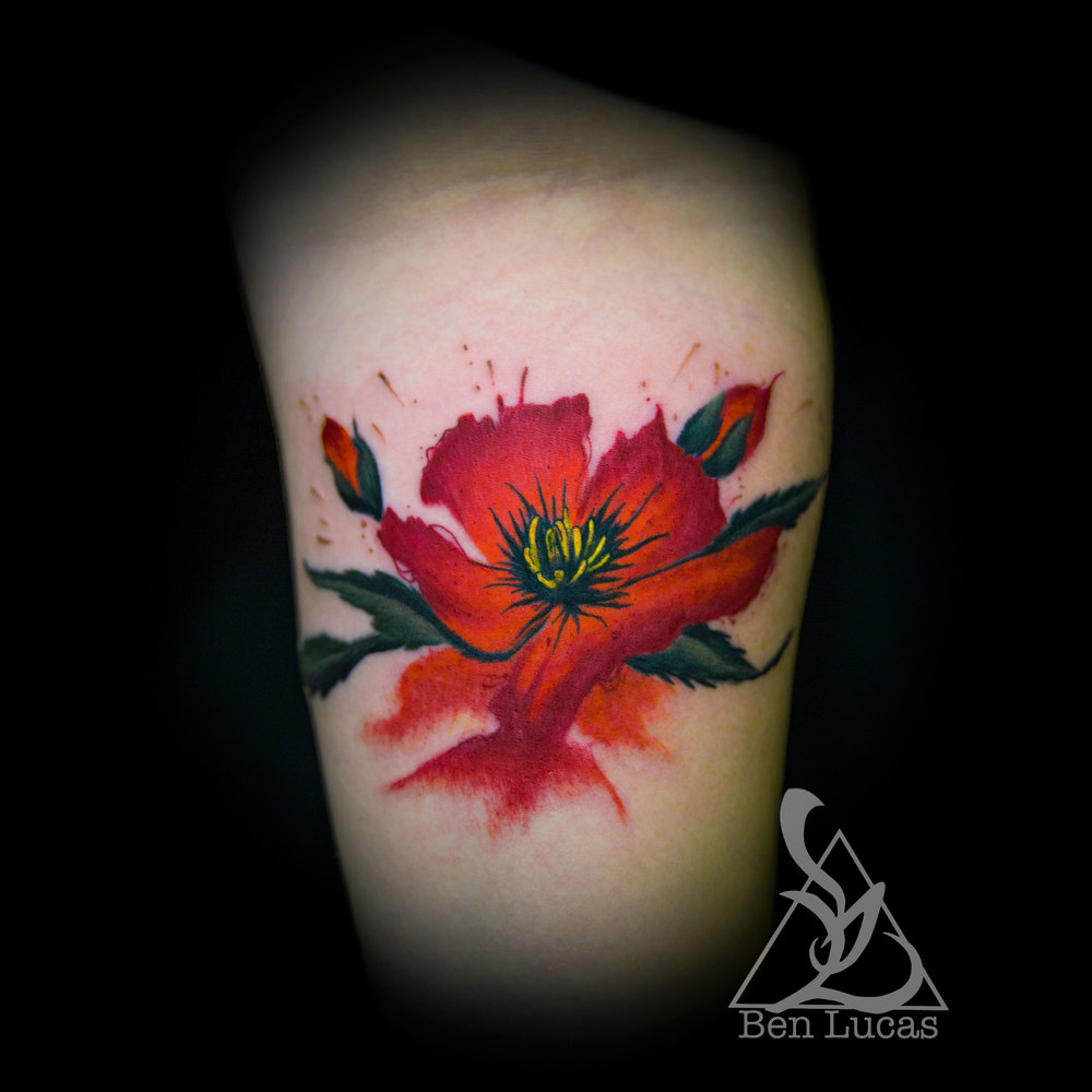 "Life has been insane this last couple of months. It's time to get back on this whole posting thing. Here's a ""kinda"" watercolor tattoo of a California Poppy done by yours truly. Thanks for looking."