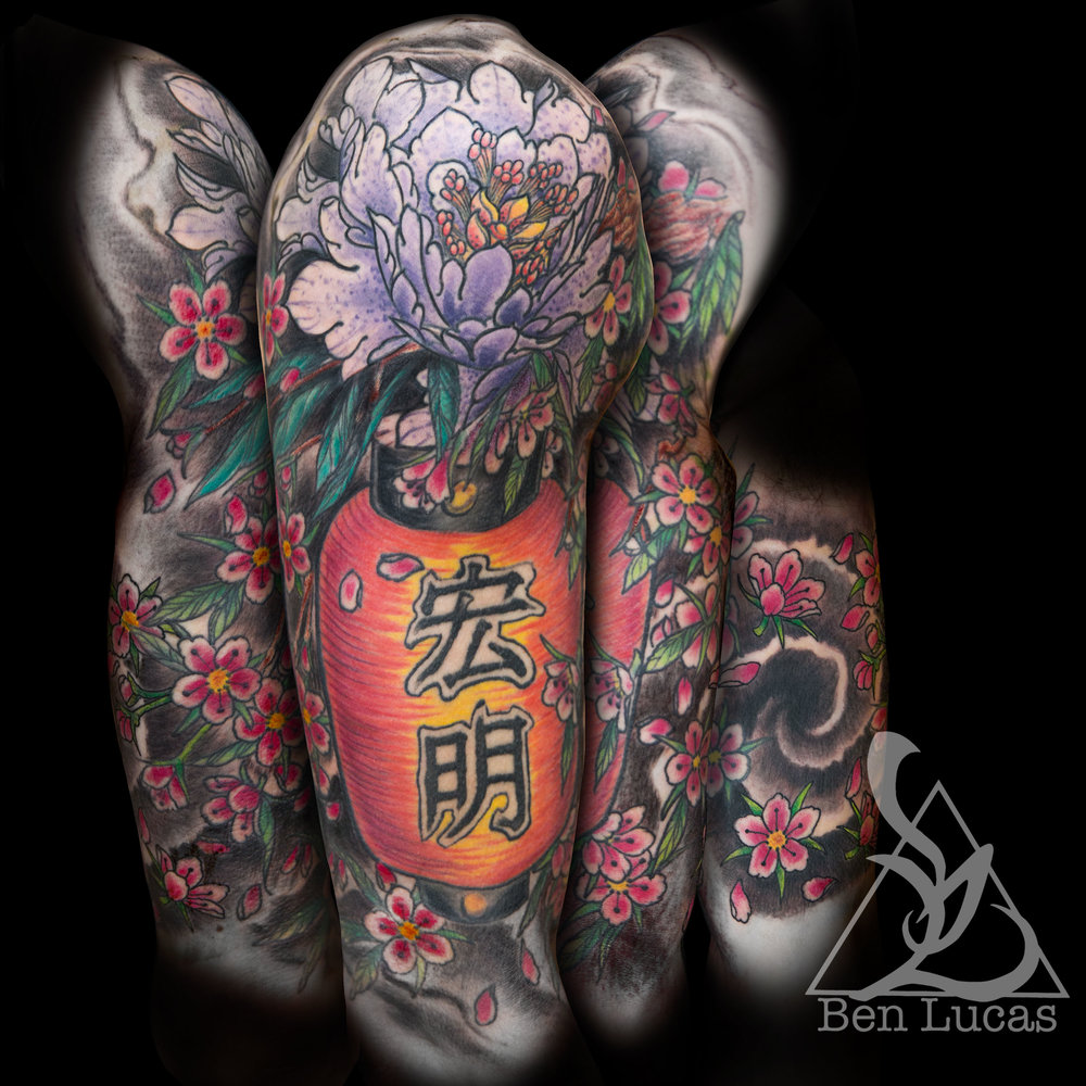 Brennans-Add-on-peonie-cherry-blossoms-and-lantern-to-kanji-half-sleeve-tattoo-by-Ben-Lucas-at-Eye-Of-Jade-Chico-CA-U.S.A