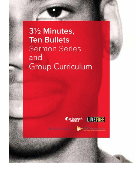 The 3 ½ Minutes, Ten Bullets SERMON SERIES will help you craft a sermon, lead a prayer, or facilitate a Bible study about seeing one another as made in the image of God, how racism and implicit bias are waging violence against those whom God loves, and our calling as people of faith to work for justice. The 3 ½ Minutes, Ten Bullets GROUP CURRICULUM is created to help you host a conversation or training with your friends, family, small group, or house meeting. Together, you can learn and talk about the violent consequences of racial bias in our culture and media, and create a plan together for how you can combat the violence in your community today.