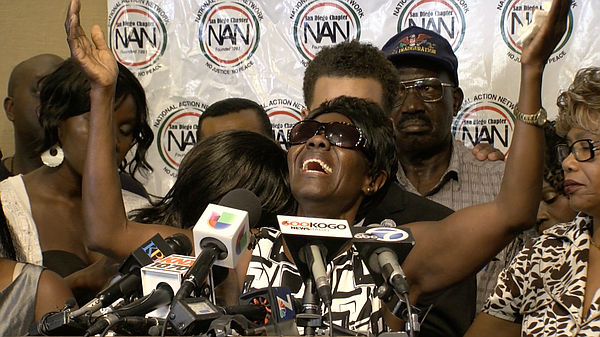 Alfred Olango's mother, Pamela Benge speaks during a news conference in El Cajon, Sept. 29, 2016.