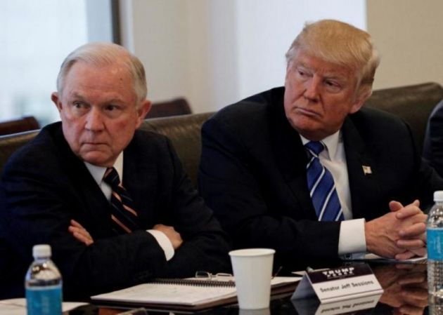 (REUTERS / Mike Segar)Donald Trump sits with U.S. Senator Jeff Sessions (R-AL) at Trump Tower in Manhattan, New York, U.S., October 7, 2016.