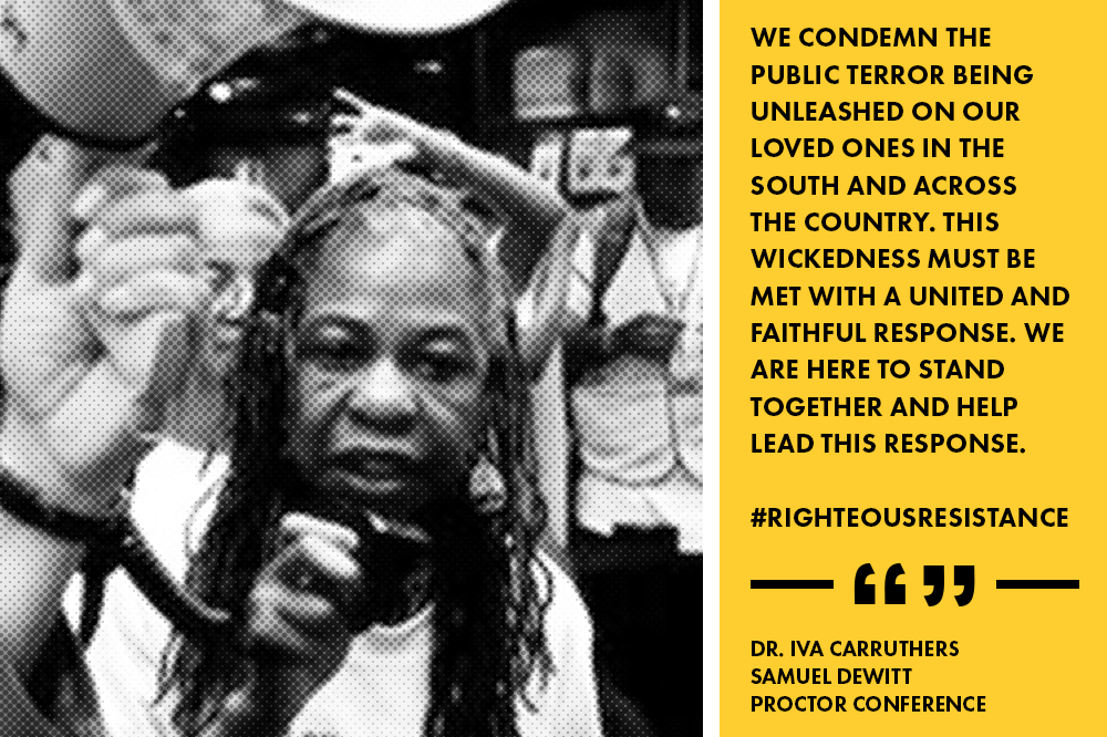 """The legacy of racial terror in the south is well documented,"" said Dr. Iva Carruthers, general secretary of the Samuel DeWitt Proctor Conference. ""Our conference, The Samuel DeWitt Proctor Conference is named after one of the black church champions for justice. In this spirit and legacy, we condemn the public terror being unleashed on our loved ones in the South and across the country. This wickedness must be met with a united and faithful response. We are here to stand together and help lead this response."""