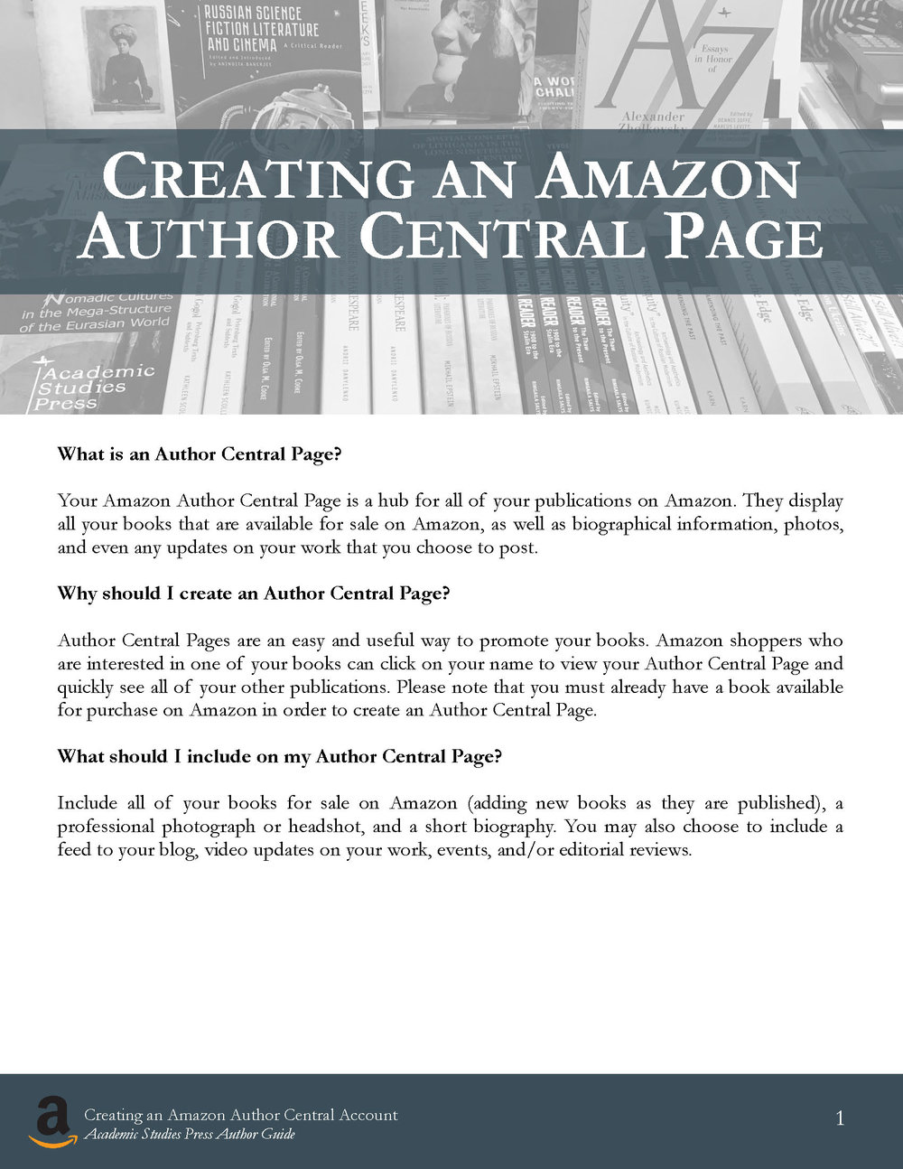 Author Guide: Creating an Amazon Author Central Page