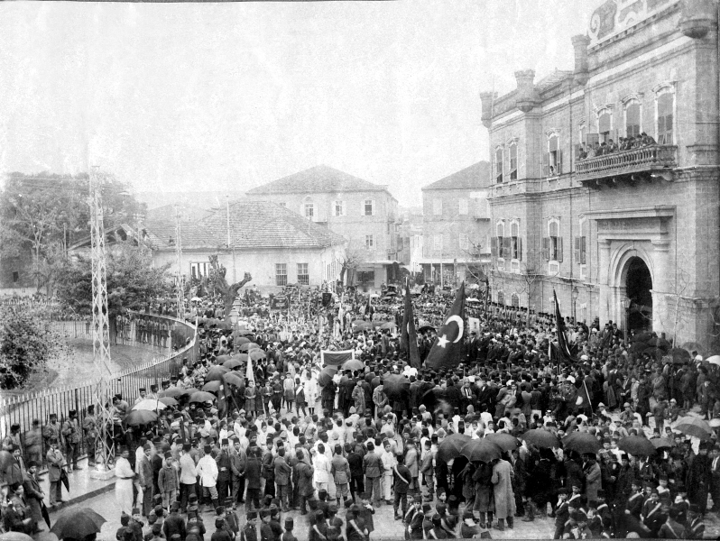 One of Cemal Pasha's visits to Beirut. The crowd has assembled in the Hamidiyya gardens. The building on the right is the Beirut Municipality. Courtesy of the Saint Joseph University Archives.