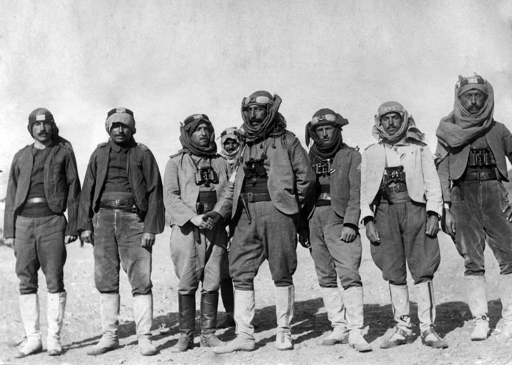 Commander of Ottoman Camel Corps Arif Bey with his officers. Courtesy of Tunca Iclal Őrses Archive.