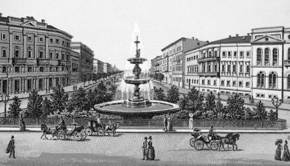 Katerynyns'ka Square. Lithograph from the end of the nineteenth century.