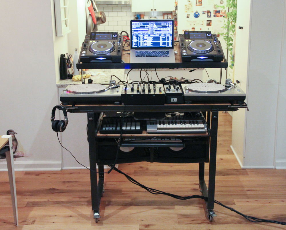Desk Deployed As DJ Booth All The Gear Resides Above 32