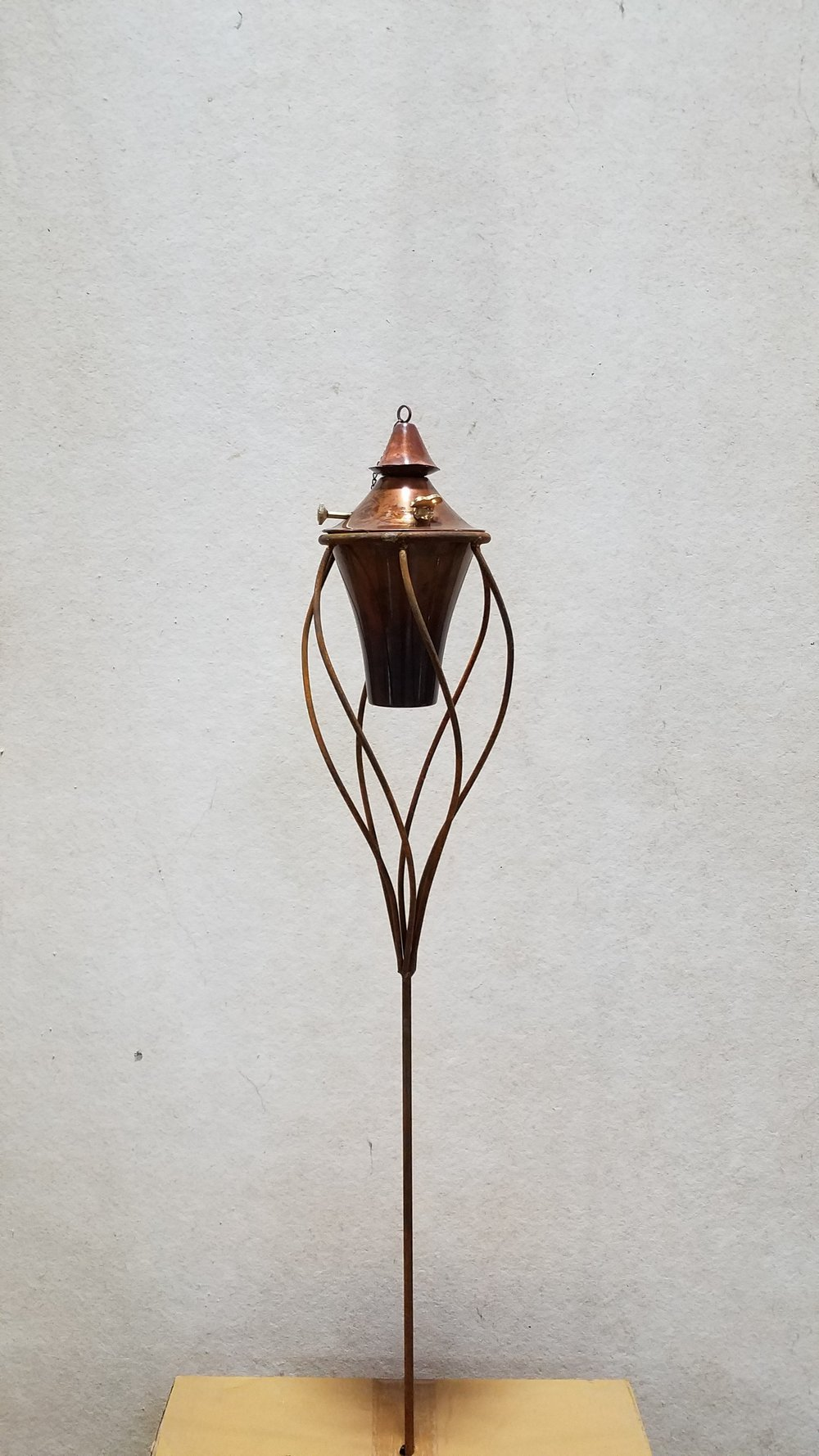 "Torch Staff 4x6 (TS46) 4' Tall x 11"" Wide; Holds 6"" Pot or Torch; Pictured with 6"" Torch-Copper Burn (6CB)"