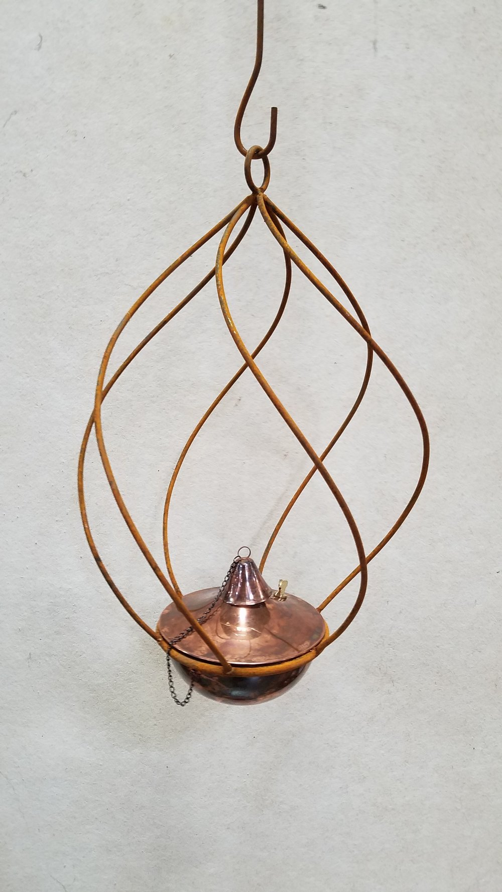"Small Swirl (SSW)  20"" Tall x 16"" Wide; Holds 8"" Pot or Torch; Pictured with 8"" Torch-Copper Burn (8CB)"