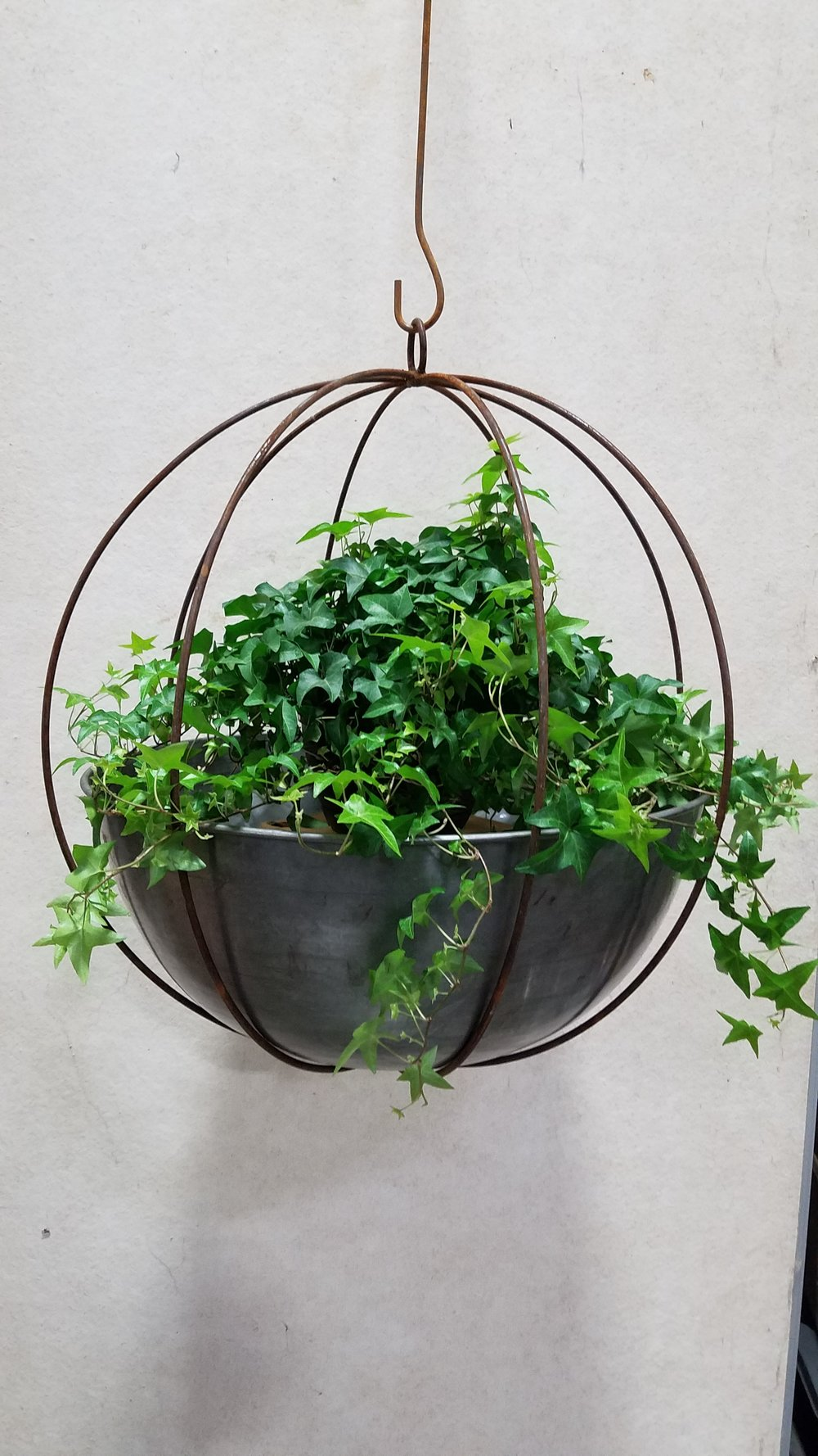 "Extra Large Globe (XLG) 24"" Diameter; Pictured with Wok Planter 23""-Mild Steel (W23M)"