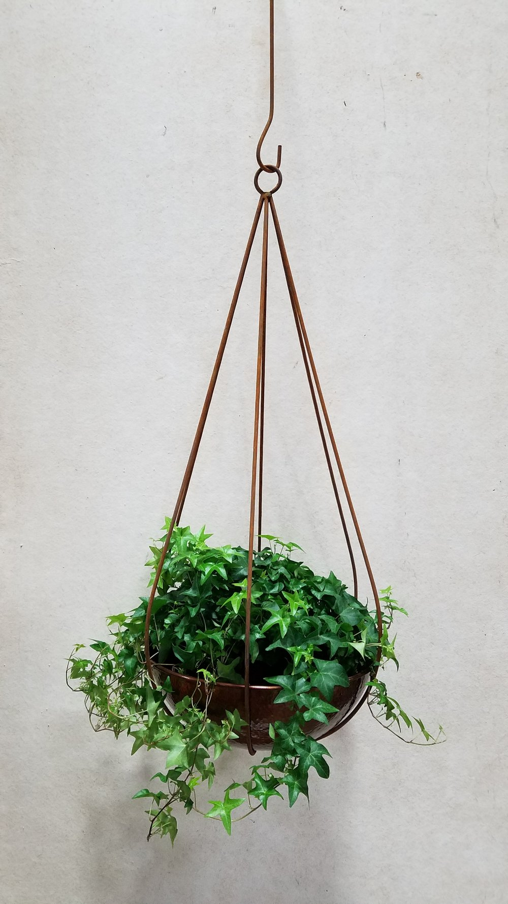 "Large Rain Drop (LRD) 36"" Tall x 18"" Wide; Pictured with Wok Planter 17""-Hammered Copper (W17H)"