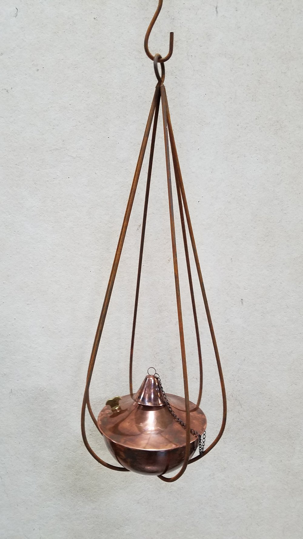 "Small Slender Drop (SSD) 30"" Tall x 10"" Wide; Pictured with 8"" Torch-Copper Burn (8CB)"