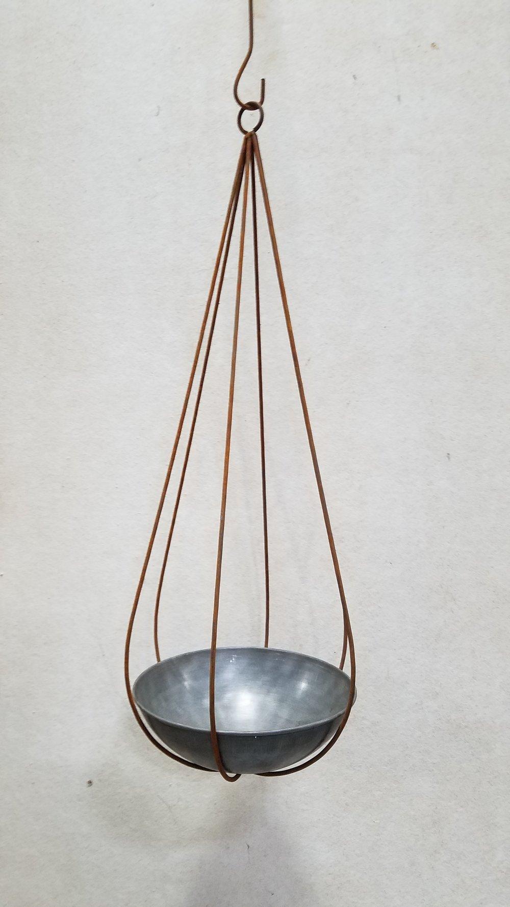"Medium Slender Drop (MSD) 42"" Tall x 14"" Wide; Pictured with Wok Planter 14""-Mild Steel (W14M)"