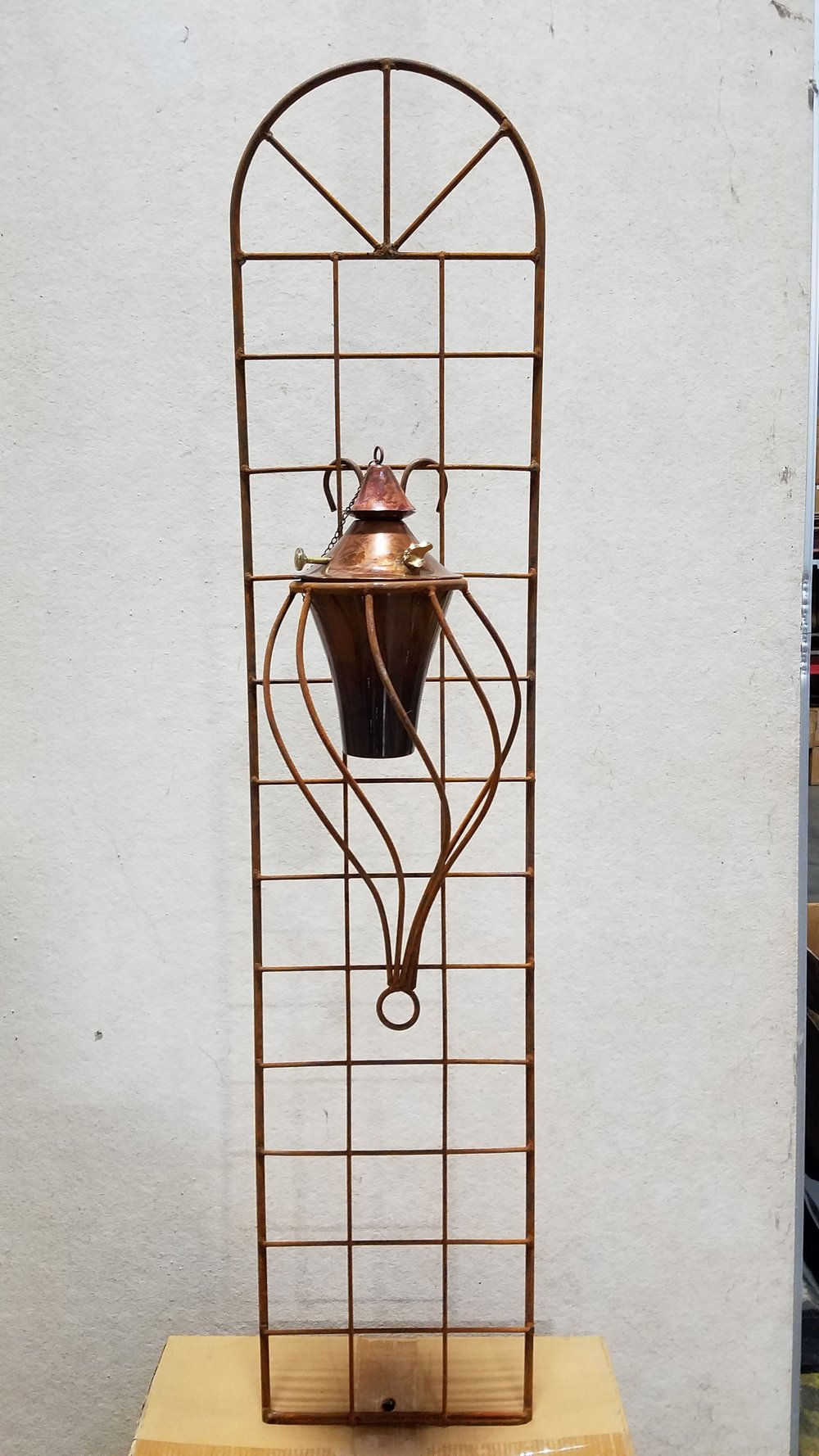 "Torch Sconce 6 (TSC6) 21"" Tall x 11"" Wide; Holds 6"" Pot or Torch; Pictured with 6"" Torch-Copper Burn (6CB)"