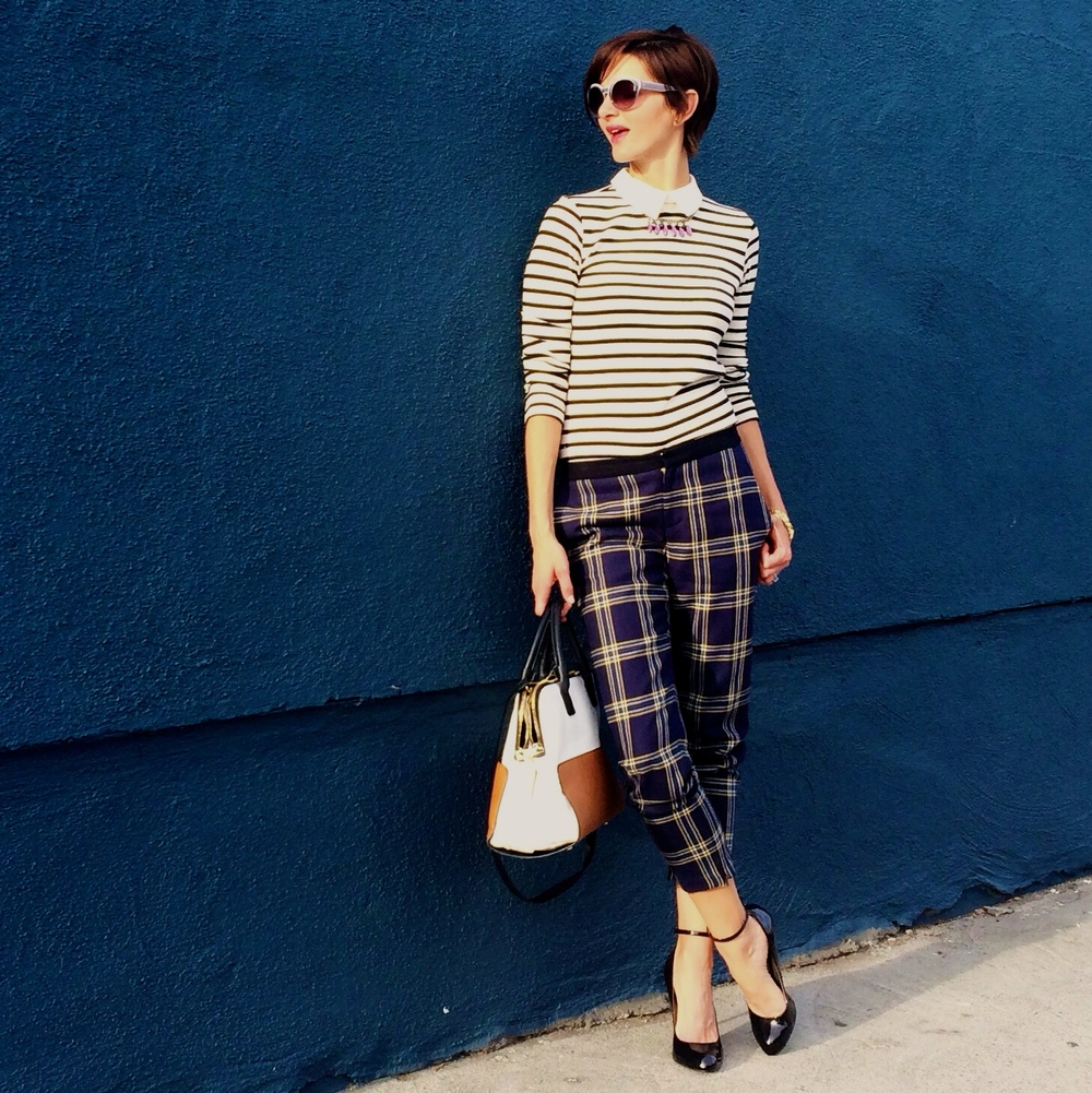 how to wear plaid and stripes 1