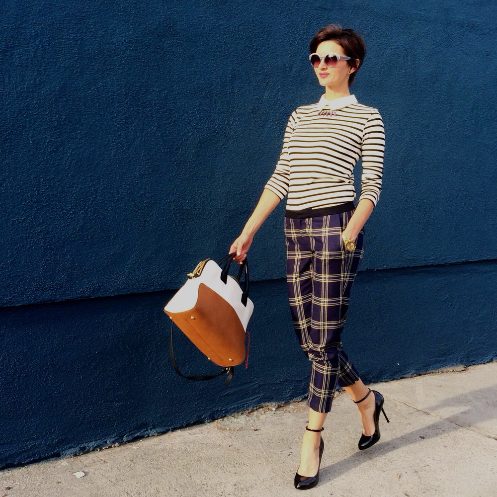 how to wear plaid and stripes 2