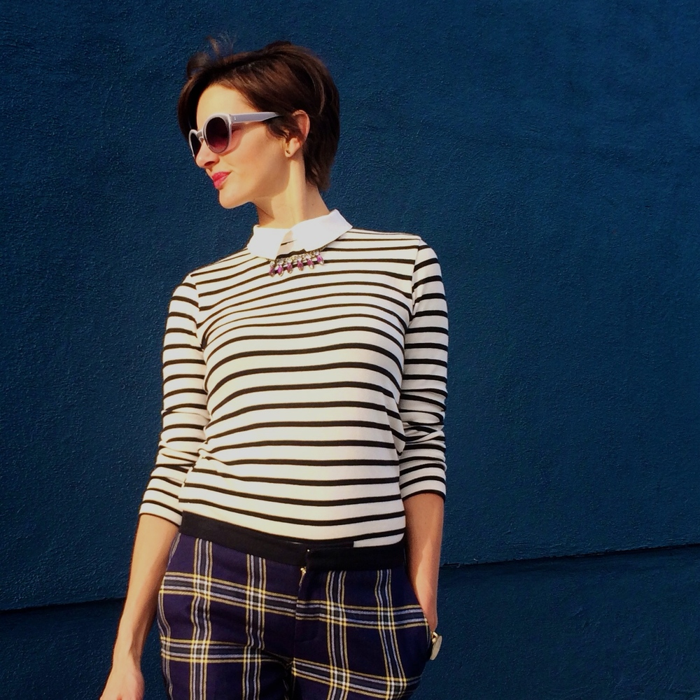 how to wear plaid and stripes 3