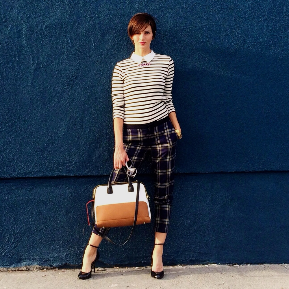how to wear stripes and plaid 4