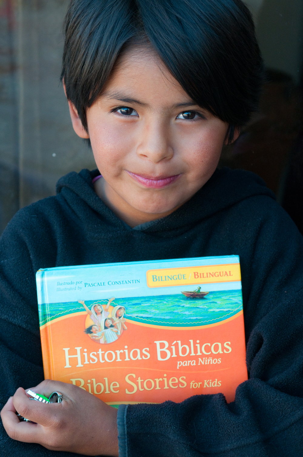 Jasmin and the bilingual Bible stories book.