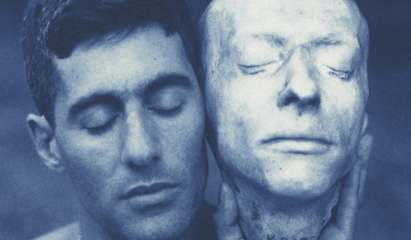 (detail) John Dugdale, Death Mask of John Keats, 1999. Cyanotype.
