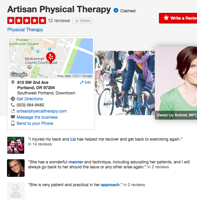 5 star yelp physical therapy reviews from previous patients and clients