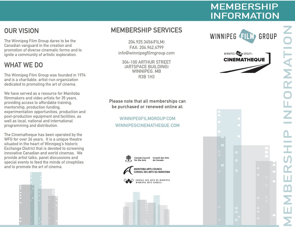 Winnipeg Film Group Membership Pamphlet, Design Layout Side 1, 2010  Pamphlet Layout
