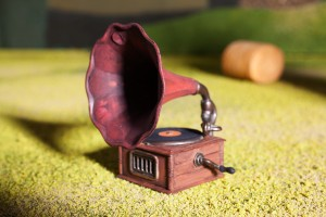 Going old school with a gramophone (it's actually a pencil sharpener!)
