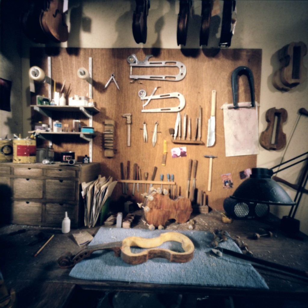 Work table in the violin shop.