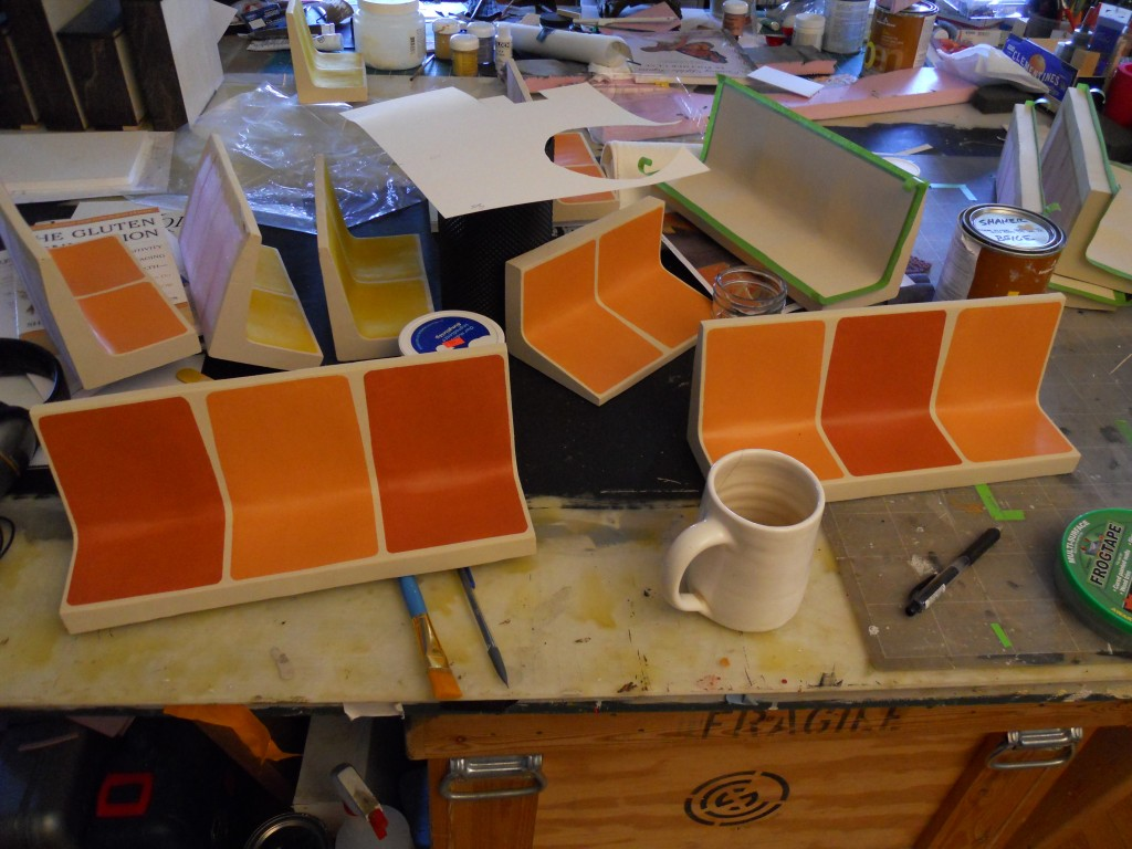 Subway seats -step 3. Careful taping then painting to get the right look.