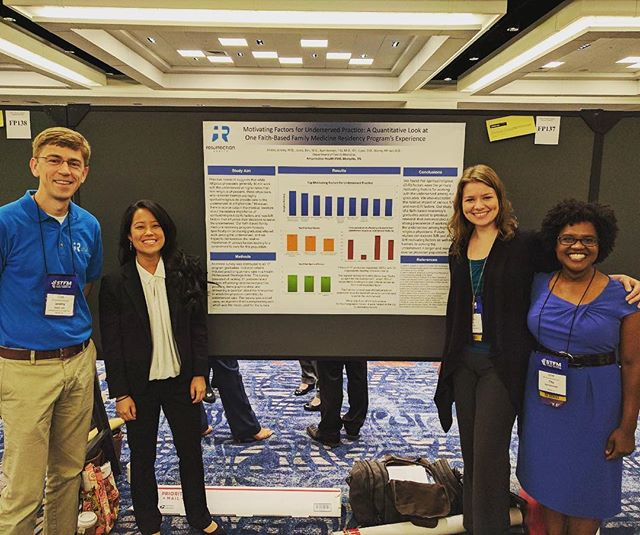 "Rezearch: ""Motivating Factors for Underserved Care: A Quantitative Look at One Faith-Based Family Medicine Resident's Experience"" at STFM Spring Conference in San Diego"